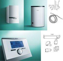 PAKIET Kocioł ecoTEC plus VC 146/5-5 + zasobnik VIH R 120 + regulator multiMATIC 700 + zestaw kominowy (wyprowadzenie przez ścianę) + zestaw przyłączeniowy zasobnika