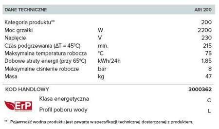 ARI 200 VERT 560 THER MO ESP EU Elektryczny pojemnościowy podgrzewacz wody