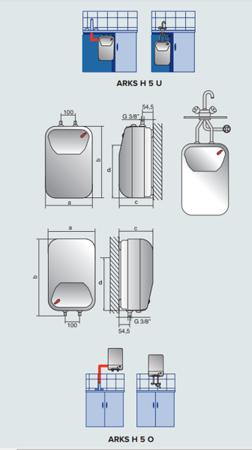 ARKS H 5U EU Elektryczny pojemnościowy bezciśnieniowy podgrzewacz wody